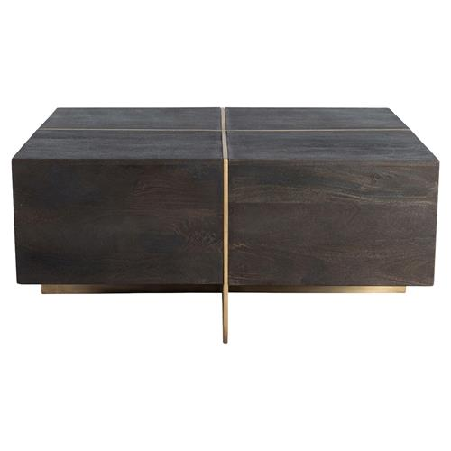 felix modern classic brass inlaid espresso wood square block coffee table