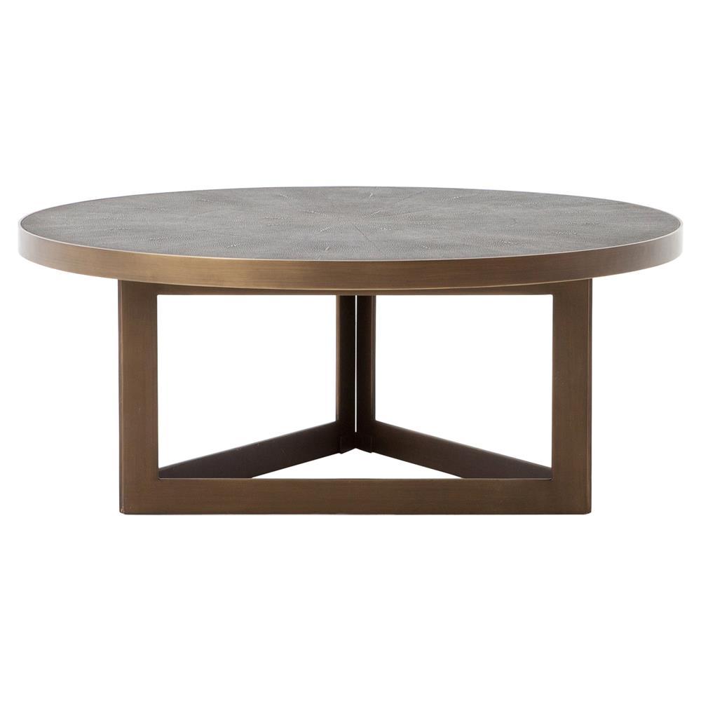 Larana Regency Faux Shagreen Round Brass Coffee Table