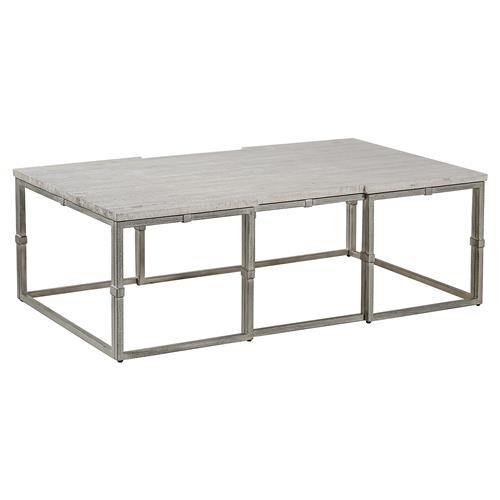 annabel rustic grey wood brushed metal rectangular coffee table