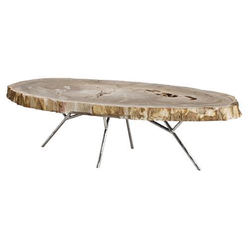 eichholtz barrymore rustic lodge petrified wood slab oval coffee table