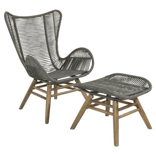cade coastal regatta rope acacia wood outdoor chair ottoman set of 2