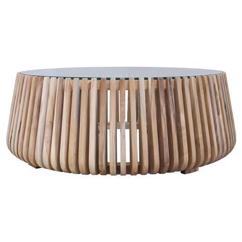 betty coastal beach glass top slatted teak wood round round coffee table small