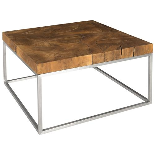 phillips collection modern classic brown teak puzzle square coffee table