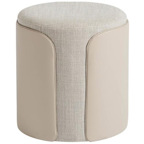 brinley modern classic grey upholstered faux beige leather round ottoman