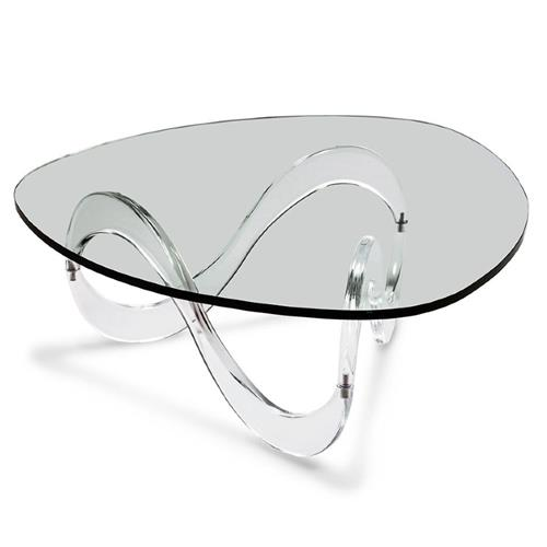interlude westin modern classic glass top acrylic wave coffee table