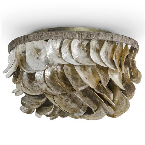 palecek playa coastal beach natural oyster shells flush mount