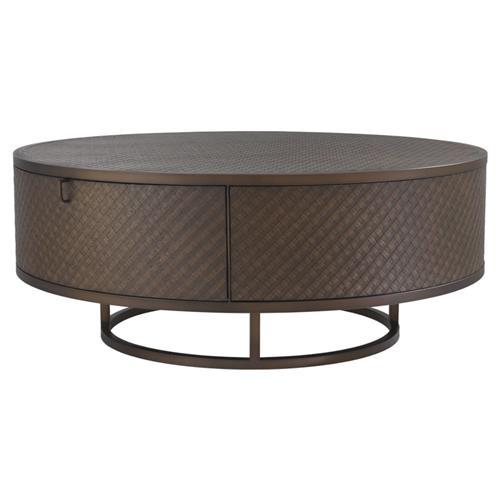 eichholtz napa valley mid century modern brown woven oak drawer round coffee table