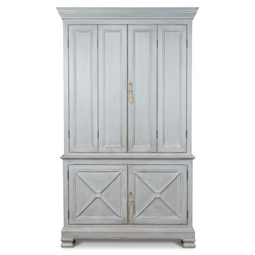 rafaila french country blue grey pine wood armoire wardrobe cabinet