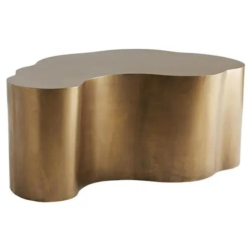 arteriors meadow modern classic gold antique brass iron abstract coffee table