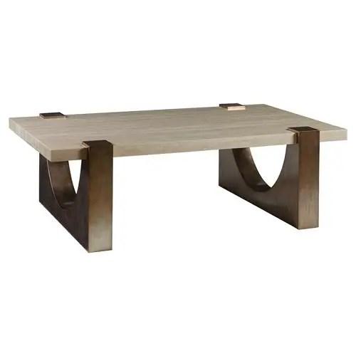 artistica impresario modern rectangular silver stone top wood base coffee table