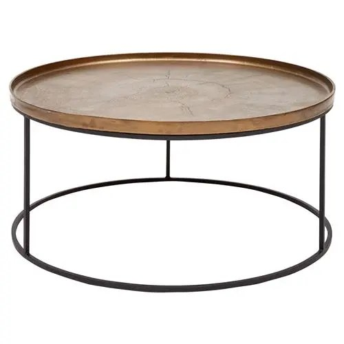 emily industrial loft black metal base round brass round coffee table
