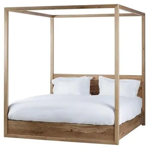 thomas bina otis coastal rustic oak wood poster bed queen