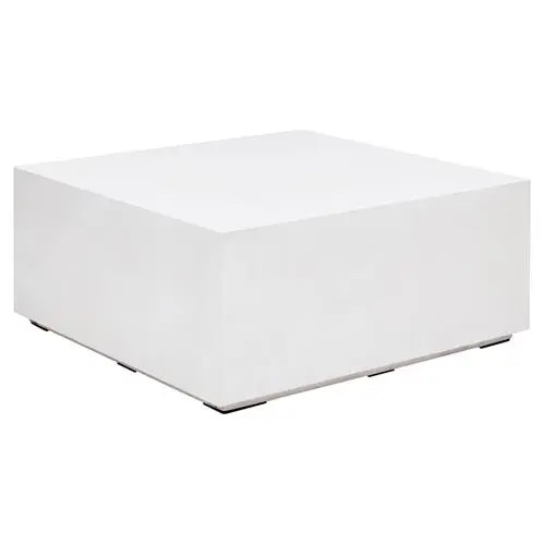 victoria modern classic white block square outdoor coffee table small
