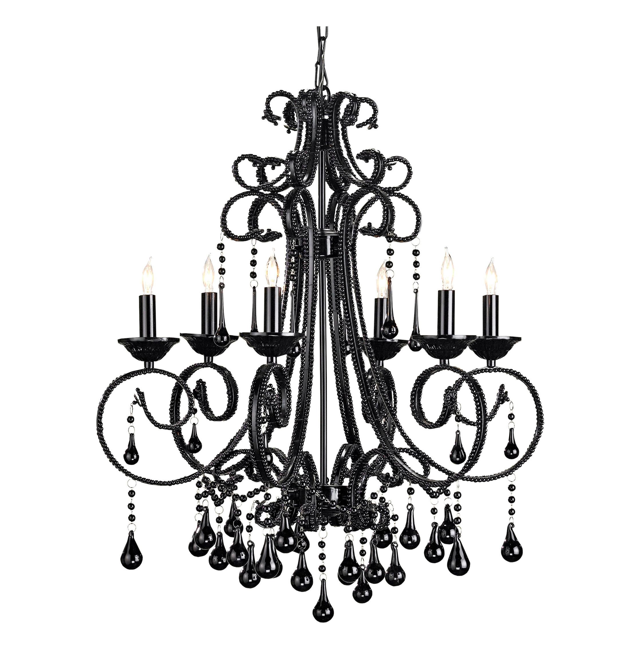 Black Italian Style 6 Light Crystal Chandelier