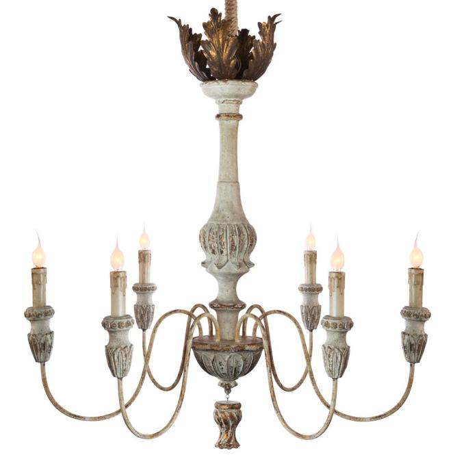 Tutu French Country Weathered White Antique Gold Chandelier Kathy Kuo Home