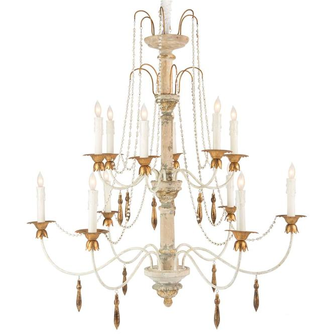 Fontaine French Country 2 Tier Distressed White Beaded Chandelier Kathy Kuo Home