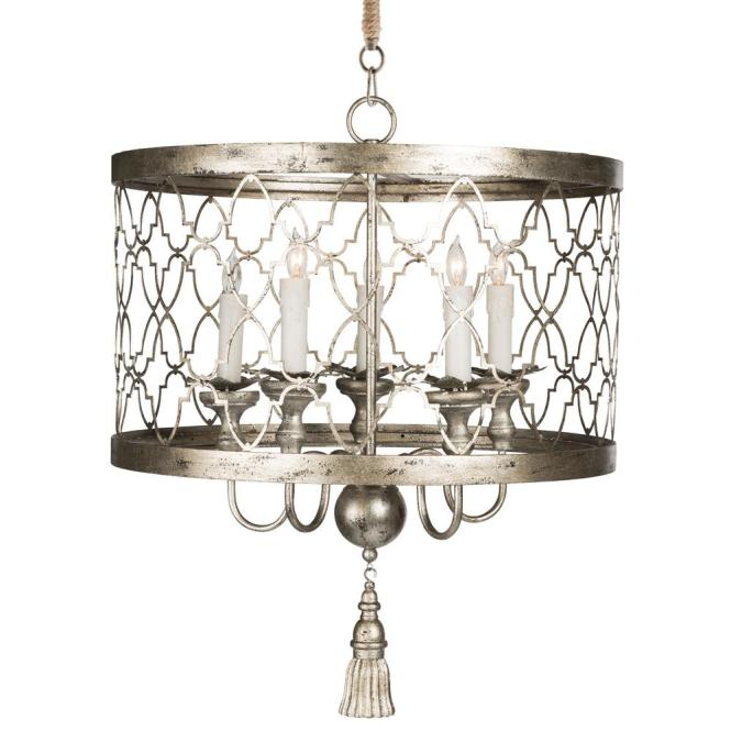 Ingrid Hollywood Regency Antique Silver 5 Light Chandelier Kathy Kuo Home