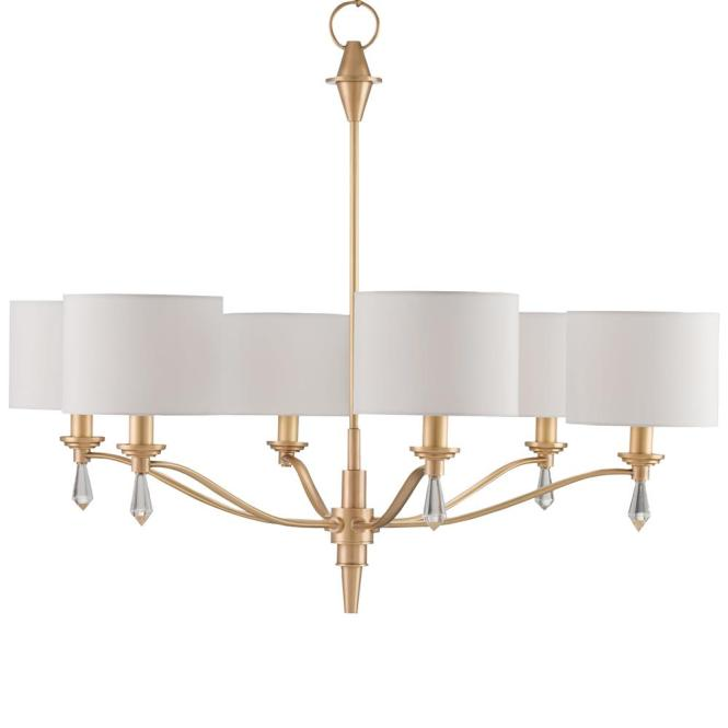 Kim Modern Classic Brushed Gold Crystal Finial 6 Light Chandelier Kathy Kuo Home