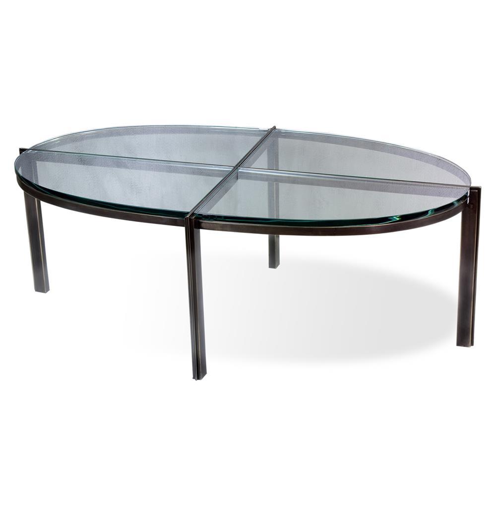 Zula Quadrant Modern Oil Rubbed Bronze Oval Glass Metal