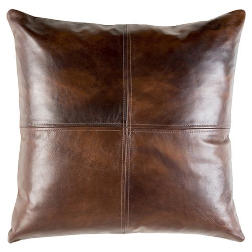 rydel rustic lodge brown leather pillow 20x20