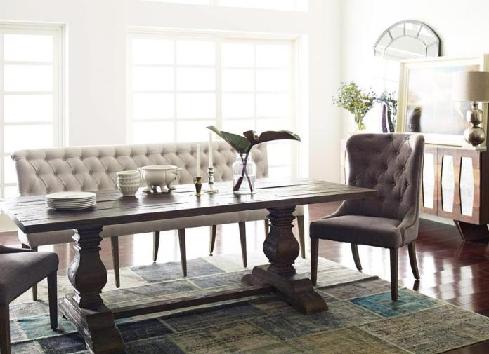 Andrea French Country Tufted Sand Long Dining Bench Banquette How To Shop For Seating Kathy Kuo Home Kathy Kuo Blog Kathy Kuo Home Kathy Kuo Blog Kathy Kuo Home