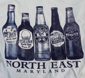 North East Maryland Tee Shirt with names of Main Street Restaurants