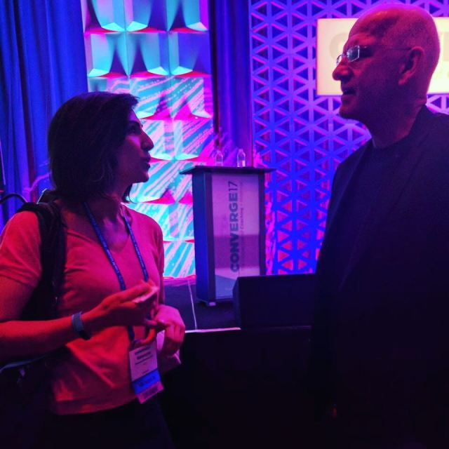 Me chatting to a very SteveJobsy Hal Gregerson the keynotehellip