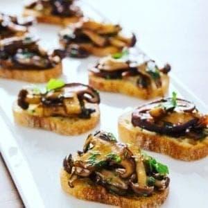 Oil-Free Rosemary and Thyme Mushroom Bruschetta