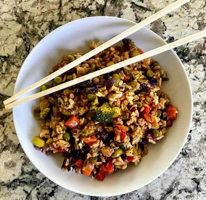 cooked vegetable fried rice