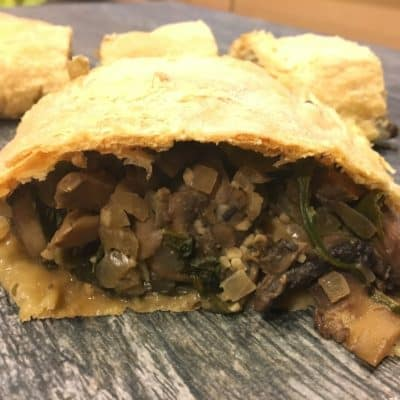 Vegan Mushroom and Spinach Strudel