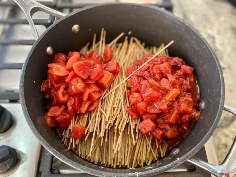 Add all ingredients tomato basil pasta