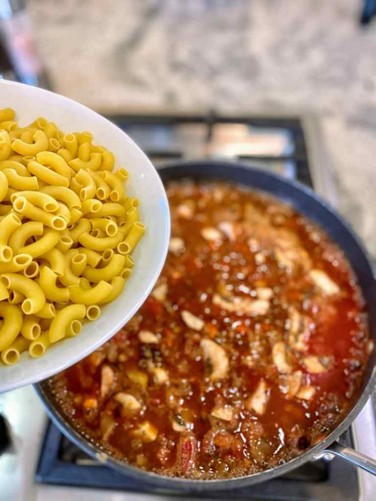Add noodles Hungarian Goulash
