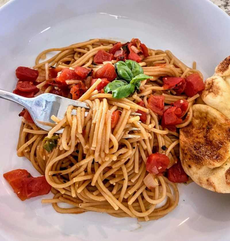 tomato basil pasta served