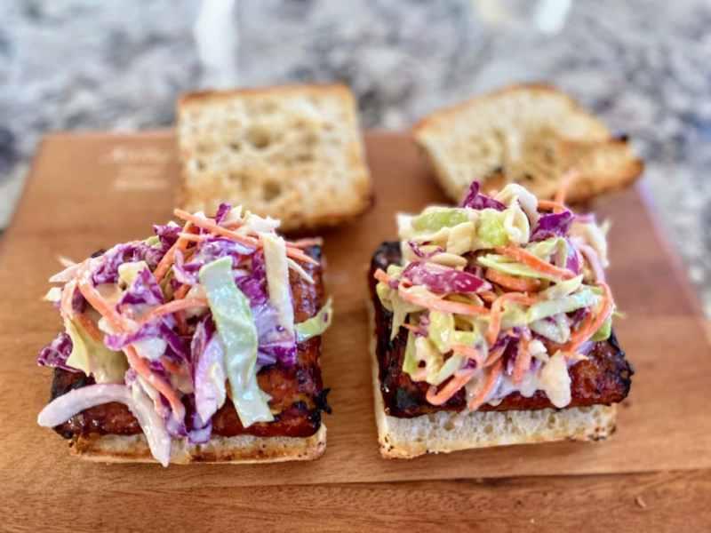 Making BBQ tempeh sandwiches