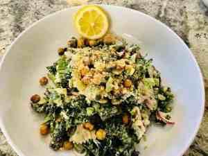 IMG_8706-300x225 Vegan Kale and Pasta Caesar Salad