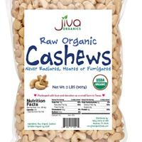 Raw Organic Cashews 2 lb Bag - by Jiva Organics (100% Pure Whole Nuts, Unsalted)