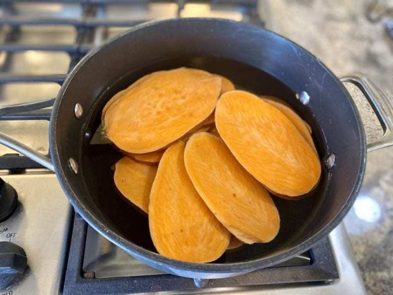 parboiling sweet potato slices