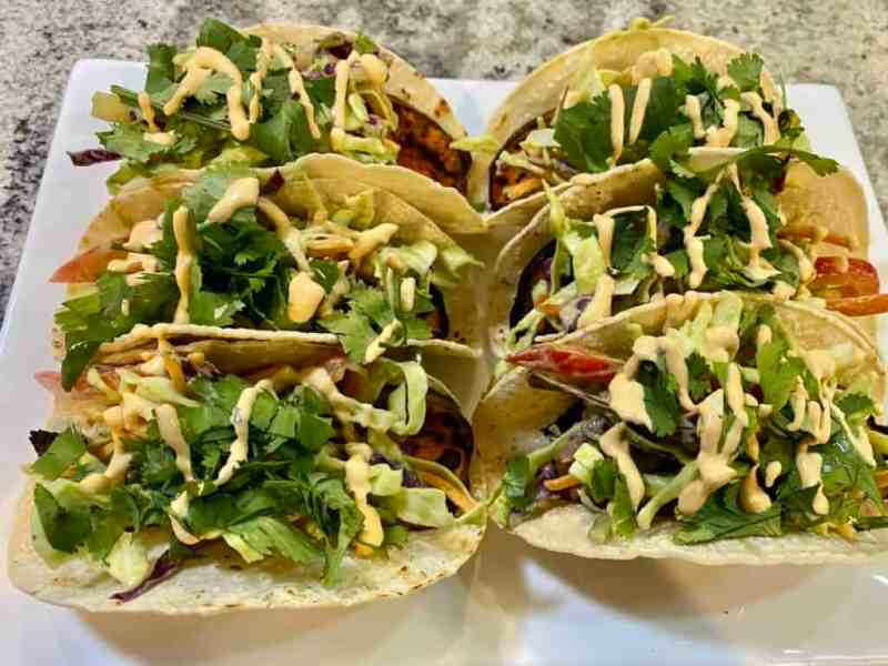 sweet potato tacos with toppings