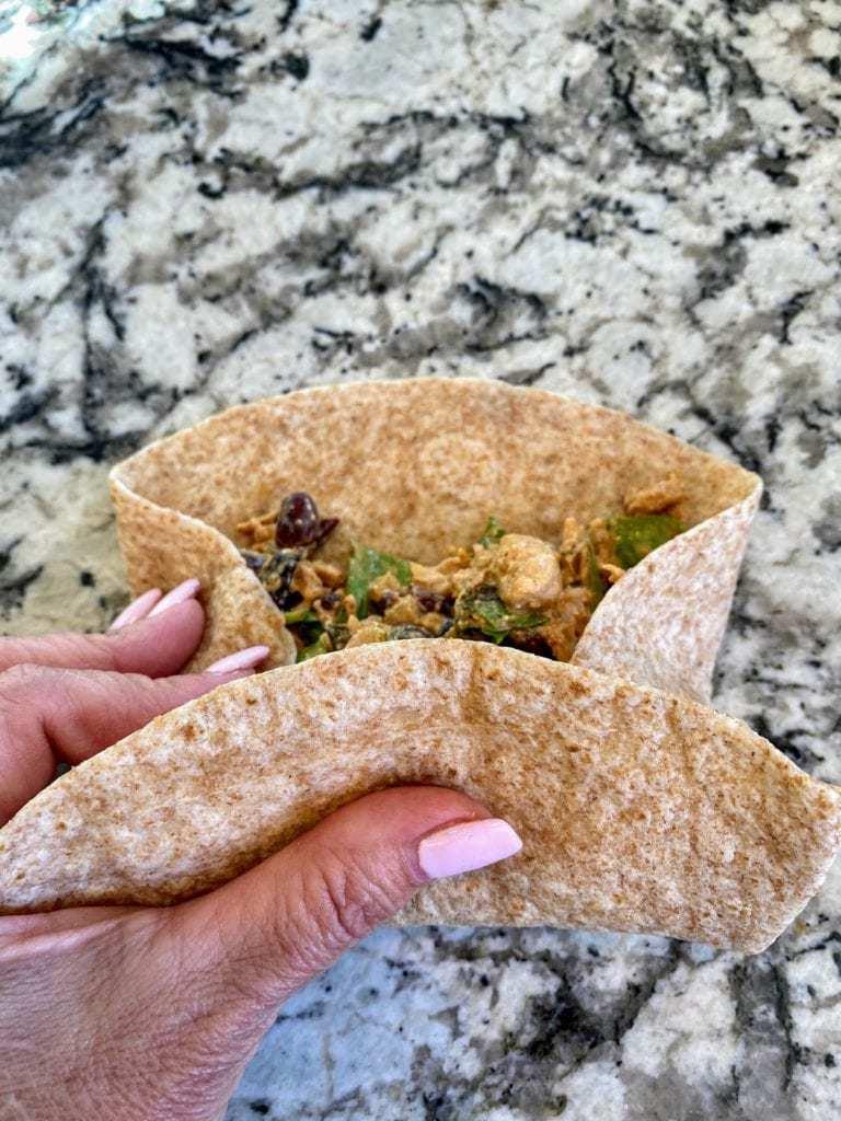 foldiing vegan enchiladas