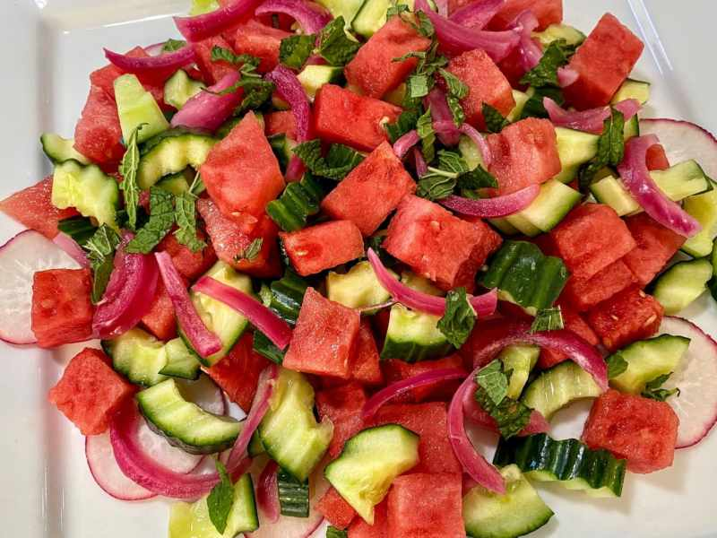 Watermelon Cucumber Salad Recipe