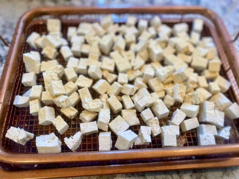 cubed tofu for vegan egg salad