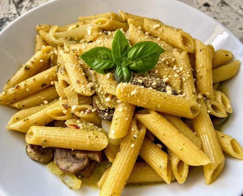 pesto pasta with mushrooms recipe