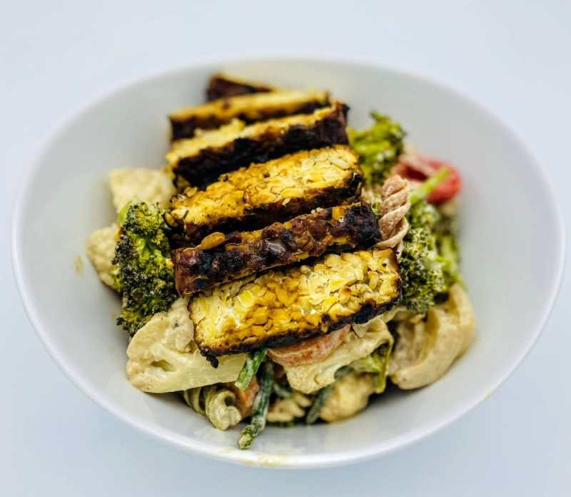 Roasted Vegetables Pasta salad with tempeh