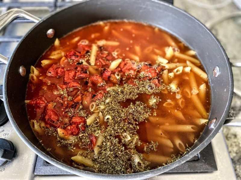 Bruschetta pasta add everything to one pot