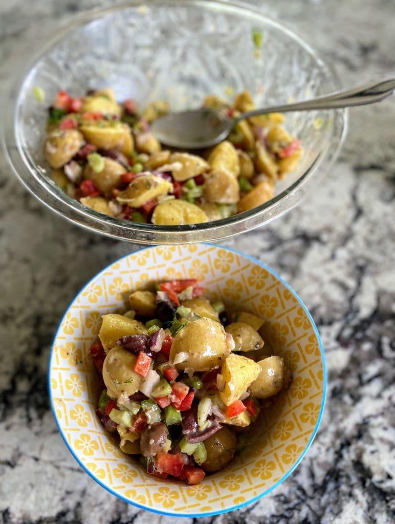 Greek Potato Salad Served