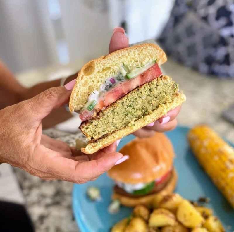falafel burger cut in half