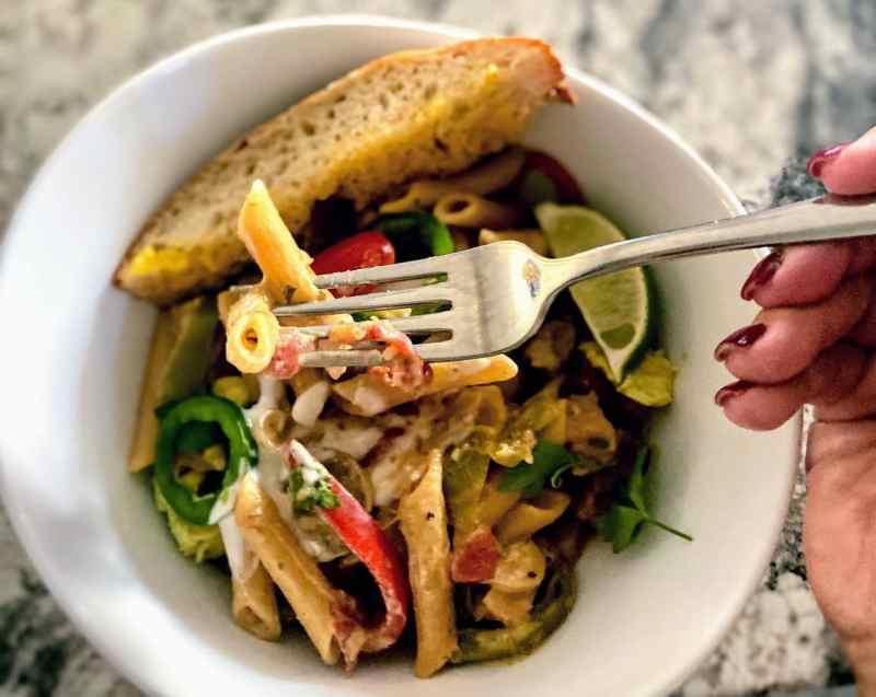 fajita pasta served