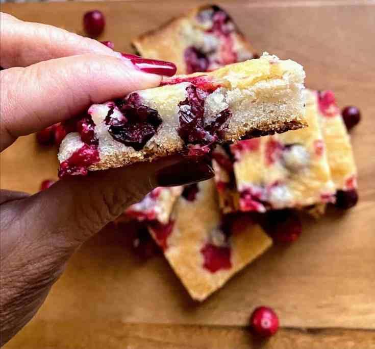 Cranberry bars served