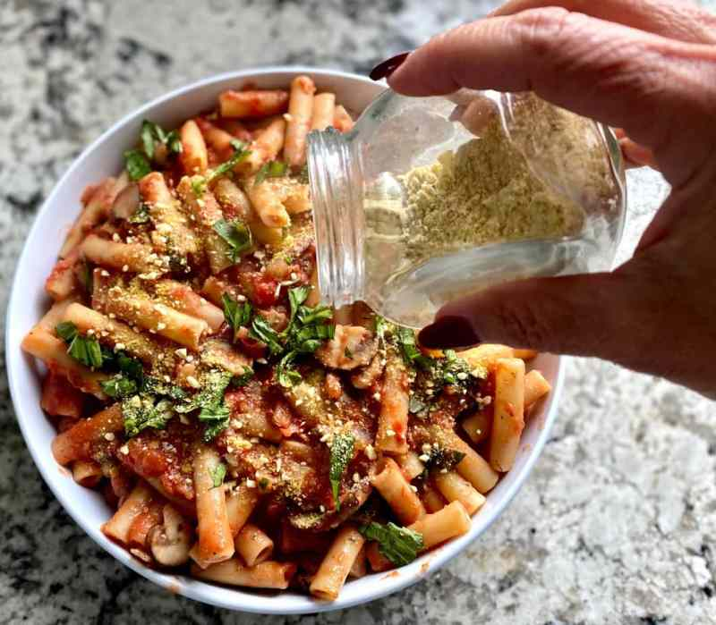 Vegan parmesan creamy tomato pasta