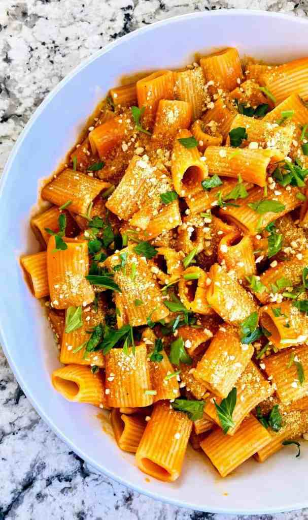 red pepper pasta served